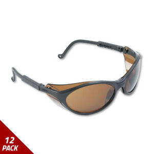 Uvex Bandit Wraparound Safety Glasses Black Nylon Frame Espresso Lens 12 Pack
