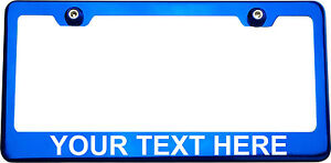 Arial Font Personalized Custom Laser Engraved Blue License Plate Frame Maserati
