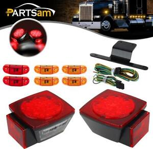 2x Square Led Light Kit Truck Trailer Tail Stop Turn Brake Side Marker Boat Lamp