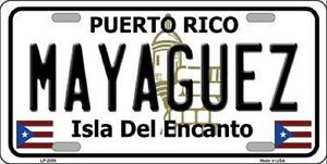 Mayaguez Puerto Rico Novelty State Background Metal License Plate