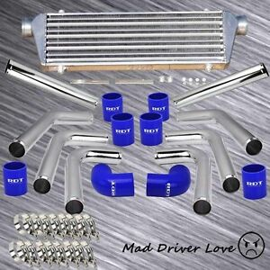 Diy 8x 2 5 Turbo Aluminum Pipe Front Mount Intercooler Piping Kit Blue Coupler