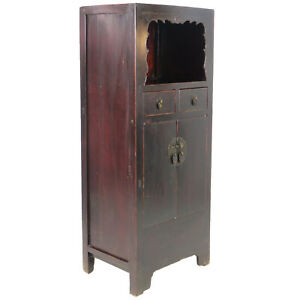 Antique Chinese Asian Display Linen Cabinet Brown Lacquer 27 Wide 61 Tall