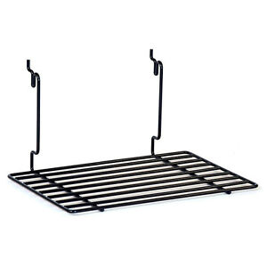 Box Of 2 New Black Flat Shelf Fits Slatwall grid pegboard 12 w X 8 d