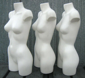 used Mn aa18 3 Pc White 3 4 Female Torso Plastic Mannequin Form Made In Usa