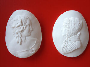 2 Grand Tour Cameo Intaglio Gem Medallion Plaster Seal Victorian Ladies Portrait