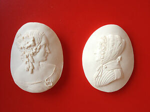 2 Grand Tour Beige Cameo Intaglio Medallion Plaster Victorian Ladies Portrait