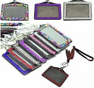 Lanyard Id Card Holder Badge Neck Strap Rhinestone Photo Id Crystal