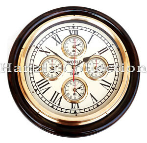 Vintage Style Brass Wooden Wall Clock World Time Clock Wall Decor Nautical Gift