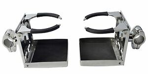 Pair Stainless Steel Rail Mounted Adjustable Folding Drink Holder For 1 Rail