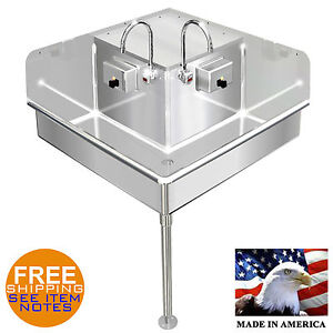 Corner Hand Sink Electronic Faucet 2 Station 36x36 Hands Free Stainless St 14ga