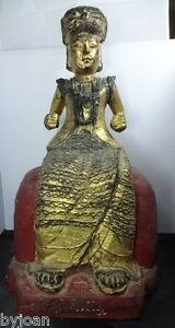 Well Carved Wood Chinese Deity Enthroned W Heavy Gilt Remains Excellent Cond