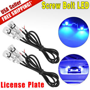 4x Led Motorcycle Car License Plate Screw Bolt Bulbs Light Ultra Blue 12v