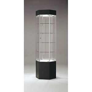 New Retails Black chrome Frame Hex Glass Tower Display Case 75 h X 20 w