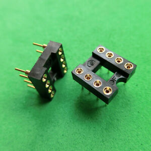 10pcs New 8 Pin Gold plated Socket For Op amp Dip8