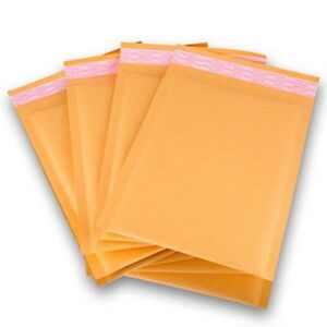 Polycyberusa 250pcs 00 Kraft Bubble Envelopes Mailers 5 X 10 inner 5x9