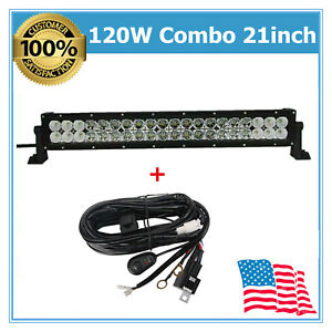 21inch 120w Cree Flood Spot Led Light Bar Offroad Driving Lamp Suv Wiring Kit 22