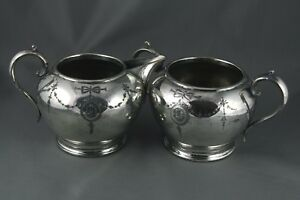 Antique James Deakin Silver Plate Cream And Sugar Engraved Sheffield