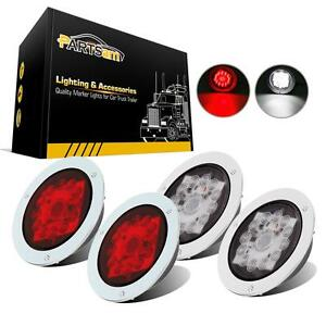 4xred White Round Stop Turn Tail Brake Reverse Fog Lights 4 16 Led Flange Mount