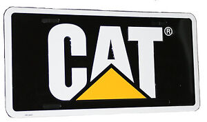 Caterpillar Cat Equipment Traditional Black Yellow White License Plate Tag