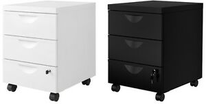 Ikea Erik Metal Home Office Filing Drawer Unit On Castors Lock Cabinet 2colors