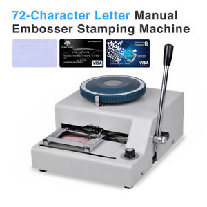 72 character Letters Manual Embosser Credit Id Pvc Card Vip Embossing Machine