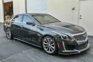 For 16 up Cadillac Cts v Carbon Front Bumper Lip Splitter Package Style Kit