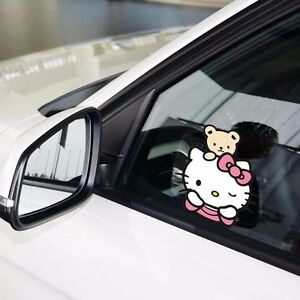 Hello Kitty Cat With Bear Wink Watching Bumper Windows Wall Decals Car Stickers