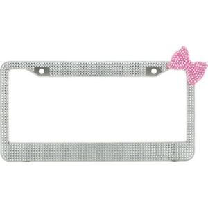 Clear 7 Rows Bling Diamond Crystal License Plate Frame With Corner Pink Bow Tie
