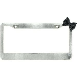 Clear 7 Rows Bling Diamond Crystal License Plate Frame With Corner Black Bow Tie