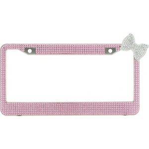Pink 7 Rows Bling Diamond Crystal License Plate Frame With Corner Clear Bow Tie