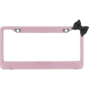 Pink 7 Rows Bling Diamond Crystal License Plate Frame With Corner Black Bow Tie