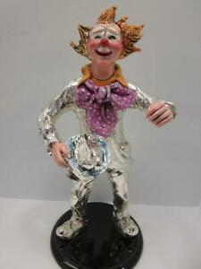 Italian Silver Plated Enamel Handcrafted Duck Magician Clown Figurine Ma 764