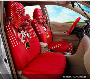 New Mickey Minnie Mouse Car Seat Covers Cushion Accessories Set 18pcs Tl 5132