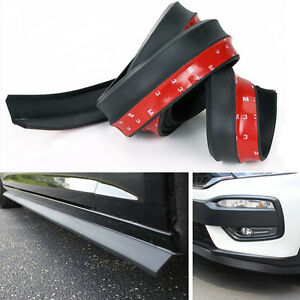 Lip Protector Front Bumper Spoiler Side Rubber Splitter Universal 100 Car Black