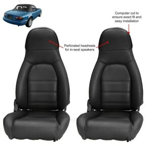 Mazda Miata Seat Covers Fits 1990 1996 Pair Of Black Leatherette Standard Seats