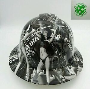 Hard Hat Full Brim Custom Hydro Dipped Osha Approved Biker Babes Wow