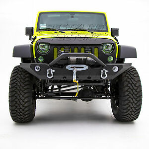 Front Bumper With Oe Fog Light Hole Winch Mount Plate For 07 18 Jeep Jk Wrangler