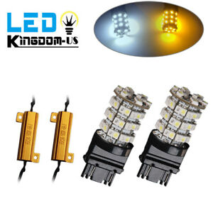 2x 3157 60smd Dual Color Switchback White Amber Led Turn Signal Light Resistors