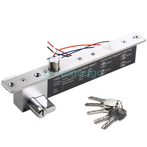 Dc12v Electric Drop Bolt Lock Key Open Fail Secure No With Cylinder Time Delay