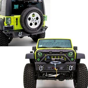 Hd Crawler Stubby Front rear Bumper 2 Hitch Receiver For 07 18 Jeep Jk Wrangler