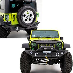 Rock Crawler Front rear Bumper 2 Hitch winch Plate For 07 18 Jeep Wrangler Jk