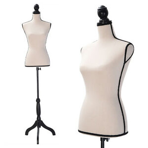 Beige Female Mannequin Torso Dress Form Clothing Display B black Tripod Stand