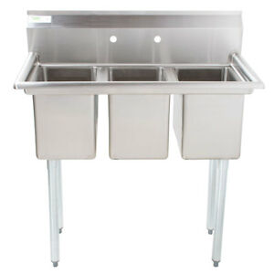 39 Nsf Stainless Steel 3 Compartment Commercial Pot Sink Without Drainboards