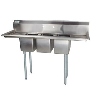 79 Nsf Stainless Steel 3 Compartment Commercial Pot Sink With 2 Drainboards