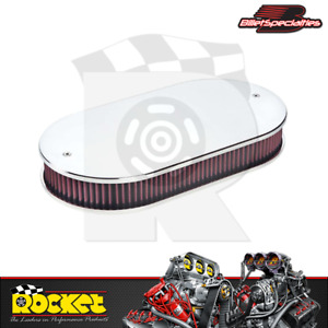 Billet Specialties Dual Quad Carb Plain Polished Oval Air Cleaner Bs15529