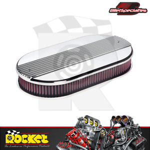 Billet Specialties Large Dual Quad Ribbed Polished Oval Air Cleaner Bs15650