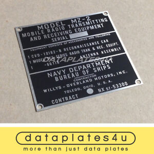 Willys Mb Mz 2 Radio Transmitting Data Plate Usmc Navy Marine Corps Mz 1 V 35 u