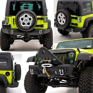 Stinger Front Bumper Full Width Rear Bumper Hitch For 07 18 Jeep Jk Wrangler