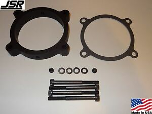 11 17 Mustang Gt 5 0 Throttle Body Intake Spacer Plate 85mm Nitrous Npt Black