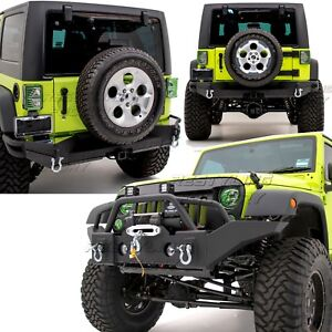 Rock Crawler Full Width Hd Front Bumper Rear Bumper For 07 18 Jeep Jk Wrangler